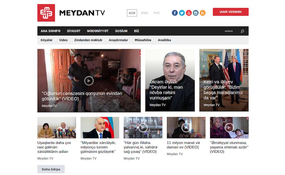 Homepage of Meydan TV