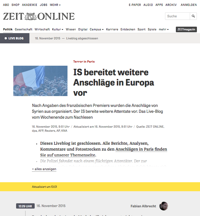 Live Blog in action on the ZEIT ONLINE website
