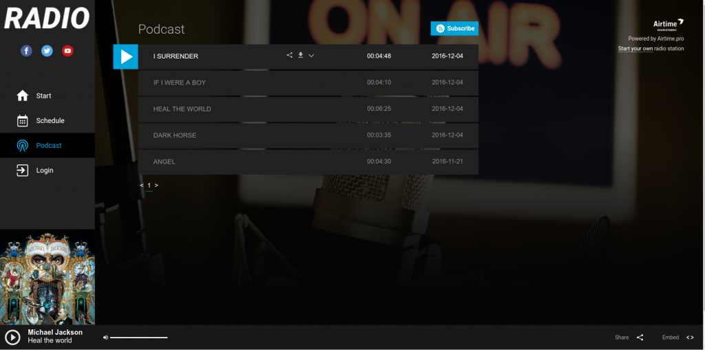 Airtime Pro - Podcast Page