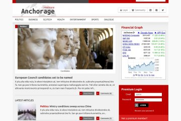This is the front page with the financial graph and premium login details for business publications.