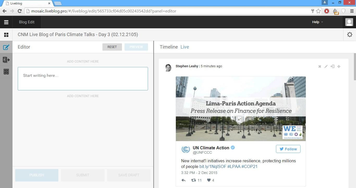 Live Blog 3.0 enables delivering real news